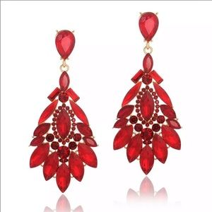 Prom Pageant Bridal Jewelry - Striking Red Crystal Prom Pageant Bridal Earrings